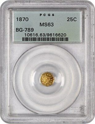 1870 Cal. Gold 25c PCGS MS63 (BG-789, OGH) Old Green Label Holder