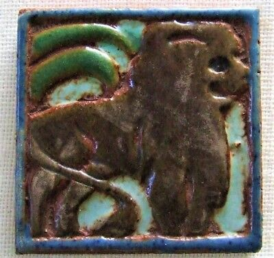 Mueller Mosaic Lion Tile American Arts and Crafts Era Architctural Faience