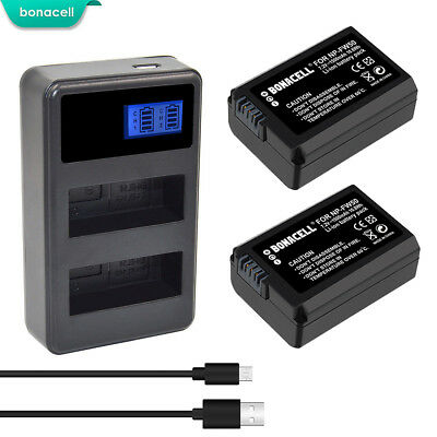 2X NP-FW50 Battery USB Dual Charger for Sony Alpha 7R A3000 A5000 A6000 NEX-5 BT
