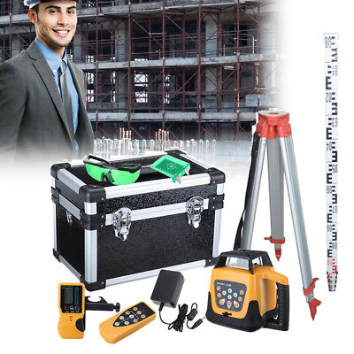 Self Leveling Laser Lever GREEN Rotary Automatic Remote Control w/ Tripod Staff