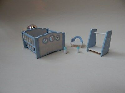 Sylvanian Families blue nursery set, with wind-up, light-up cot - Epoch