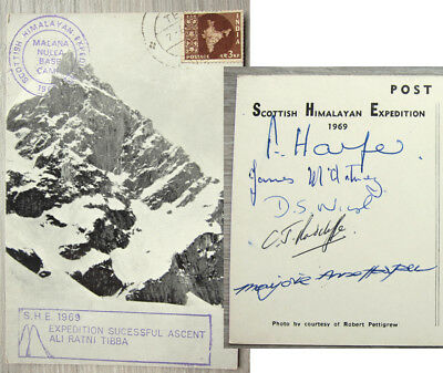 Signed Scottish Himalayan Expedition 1969 Postcard ~ Ascent of Ali Ratni Tibba