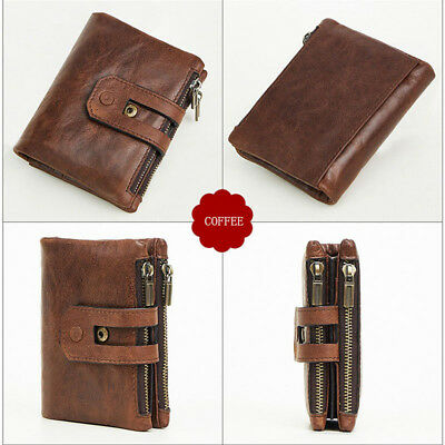 Mens Genuine Leather Wallet Trifold 14 Credit Card Holders Zip Coin Pocket Purse