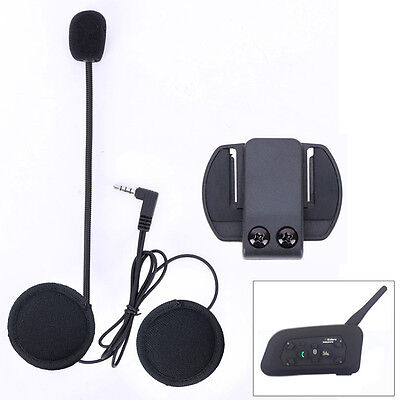 Mic/Speaker Headphone/Headset+Clips for V6 Motorcycle Bluetooth Helmet Intercom