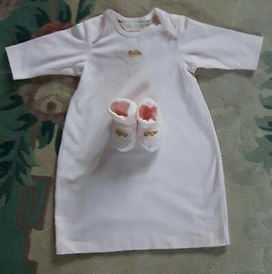 Anne Geddes pink Baby Gown & Bootees 0-3 Months **Very Rare** BNWOT