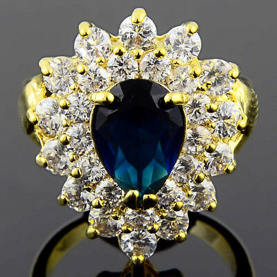 Cubic Zirconia Pear cut Blue Sapphire 18K Yellow Gold Plated Ring Size 6 M