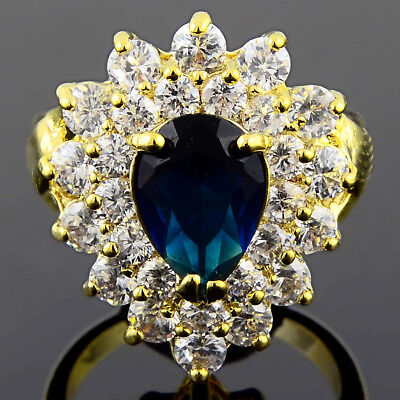 Cubic Zirconia Pear cut Blue Sapphire 18K Yellow Gold Plated Ring Size 8 Q