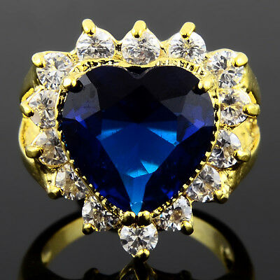 Cubic Zirconia Heart Cut Blue Sapphire 18K Yellow Gold Plated Ring Size 7 O