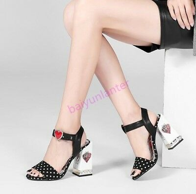 18 Lady Floral Printing Block High Heel Sandals Peep Toe Ankle Strap Heart Shoes