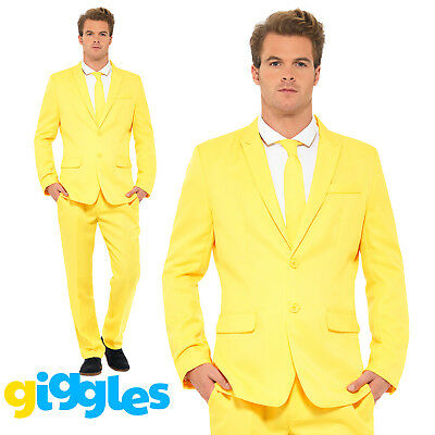 Mens Yellow Stand Out Suit Adult Fancy Dress Stag Do Party Funny Costume Outfit
