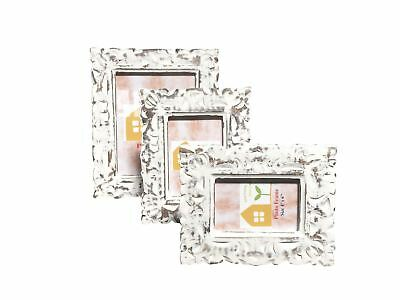 Lily Design White Carved Wooden Photo Frame