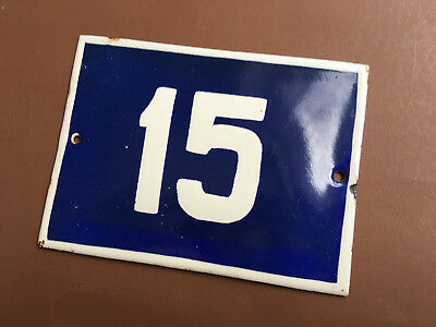 ANTIQUE VINTAGE EUROPEAN ENAMEL SIGN HOUSE NUMBER 15 DOOR GATE SIGN 1950's