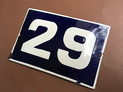 ANTIQUE VINTAGE EUROPEAN ENAMEL SIGN HOUSE NUMBER 29 DOOR GATE SIGN 1950's