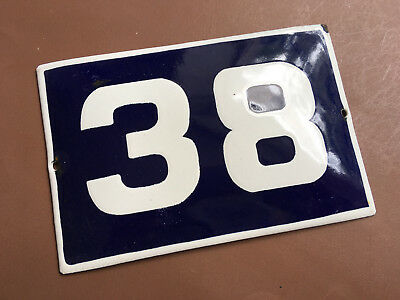 ANTIQUE VINTAGE EUROPEAN ENAMEL SIGN HOUSE NUMBER 38 DOOR GATE SIGN 1950's