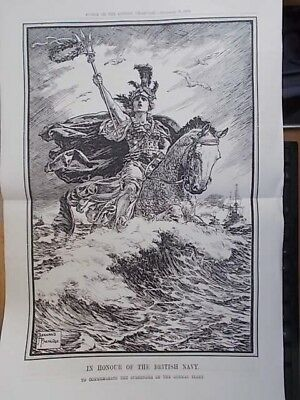 Vintage 1918 Wwi Magazine Print - In Honour Of The British Navy - Punch Cartoon