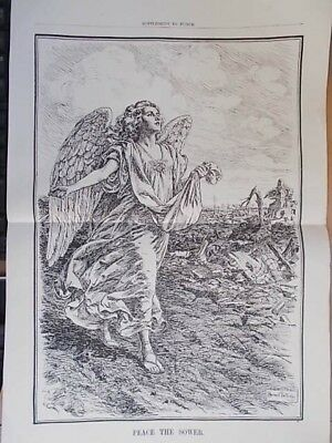 Vintage 1918 Wwi Magazine Print - Peace The Sower - End Of Wwi - Punch Cartoon