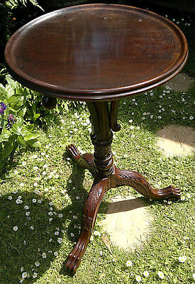 "Victorian Antique Mahogany Carved Side Wine Table with Ball & Claw Feet 28""Tall"