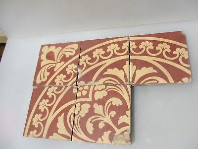 Original Victorian Ceramic Floor Tile Architectural Antique 1800's Vintage Old 5