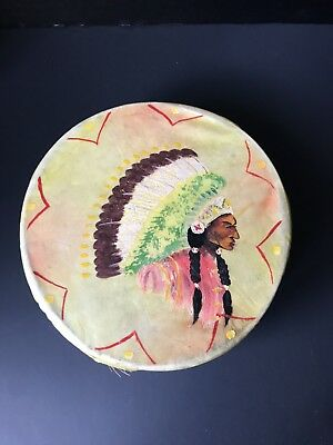VINTAGE souvenir rawhide Indian TOY DRUM Sgnd BUFFALO TIGER made in Florida