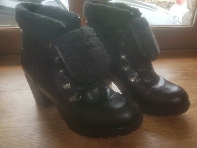 Ladies  Black Suede Ankle Boots Size Uk 6.5 Vgc