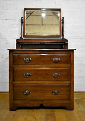 Antique Victorian vanity dressing table - chest of drawers