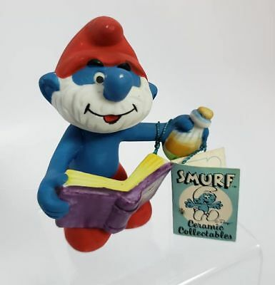 """Vintage Tagged 3.5"""" PAPA SMURF CERAMIC Porcelain Figurine Wallace Berrie 1982"""