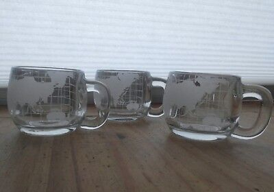 Nestle Nescafe Vintage 1970's clear glass globe world cup mug coffee - set of 3