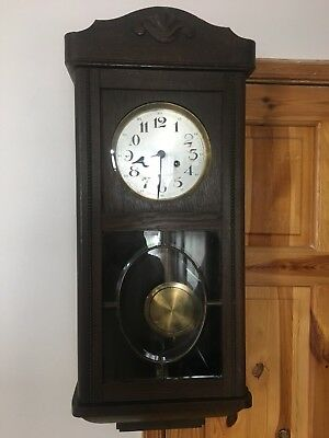 Vintage Pendulum Regulator Mechanical Clock With Winding Key.