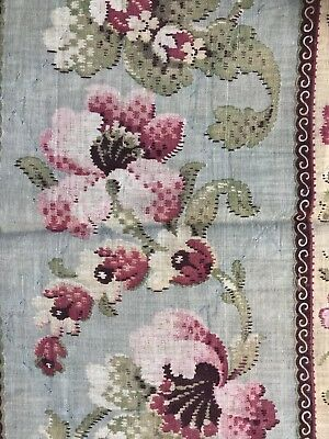 """Antique French Toile Beautiful Timeworn Fabric Indienne c1880 18""""/40""""Patchwork"""
