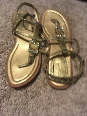 #0390A SO BRAND WHITE BUTTERFLY BETWEEN TOE SANDALS LADIES SIZE LARGE 9-10 CUTE