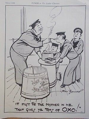 Vintage 1941 Ww2 Magazine Print - Oxo For Navy Rations - Punch Cartoon