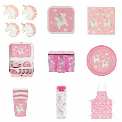 Rainbow Unicorn Pink Child Kids Apron Dining Set Plate Party Kitchen Accessories