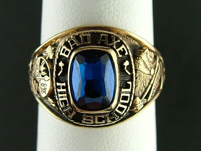 1981 BAD AXE High School Class Ring -10K Yellow Gold Ring Size 7 1/2