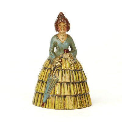 Antique Cold Painted Bronze Crinolene Lady Bell 20Th C.