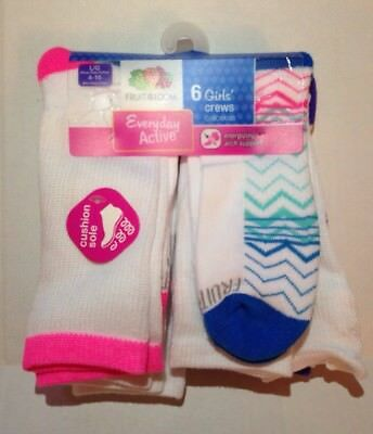 Girls Fruit Of The Loom Crew Socks 6 pairs Pack Large Size 4-10