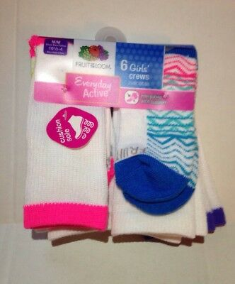 Girls Fruit Of The Loom Crew Socks Size Medium 10 1/2 -4   6 pairs Pack