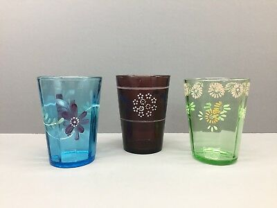 """3 Hand Painted Victorian Glasses • Vintage Tumblers Green Amethyst Blue 4"""""""