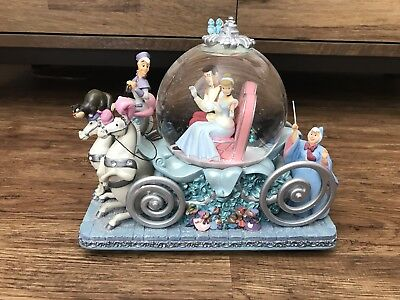 Disney Cinderella Musical Snow Globe Collectable Ornament Rare 23cm W x 20cm H