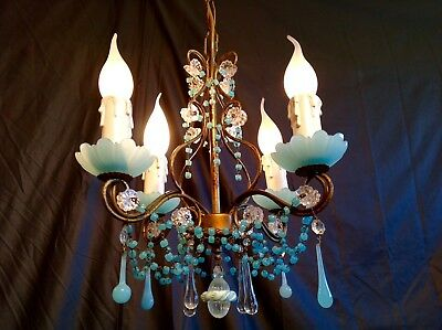 Antique 1930 Chandelier French Blue Murano RARE 4 Lights Opaline Drops