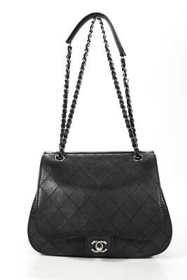 cfb155f03d981c Chanel Black Leather Diamond Quilted Coco Twin Flap Crossbody Handbag