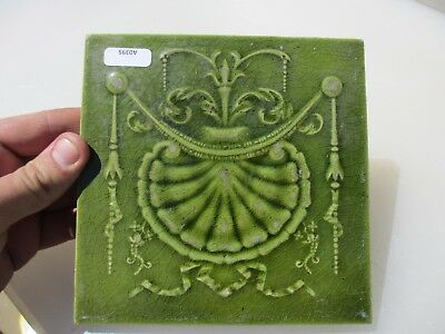 Antique Ceramic Tile Vintage Floral Flower Victorian Husks Shell Clam Drapes