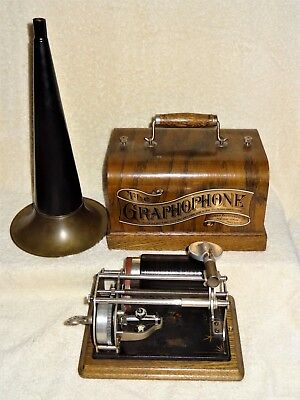 ~WORKS~ Antique Columbia Graphophone Type Q w/Horn & 15 Cylinders