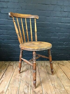 Lovely Rustic Antique Solid Pine Farmhouse Kitchen Dining Chair