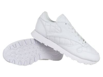 Reebok Womens Classic Leather Quilted Trainers Shoes  White (AR1262)