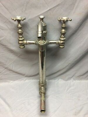 Antique Bathtub Tower standing Waste Faucet Nickel Brass Vtg Old Plumbing 82-18J