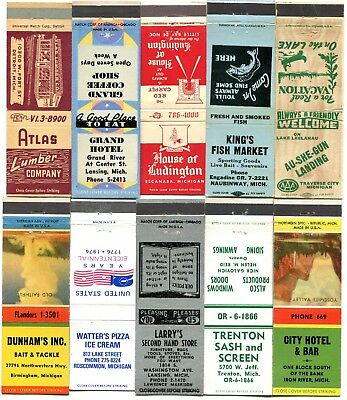 50 Michigan Front Strike Matchcovers - Cities & Towns