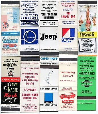 50 Discontinued & Foreign Brand Automobile Dealer Matchcovers - Nash, Packard +