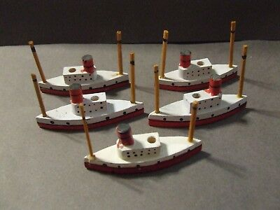Lot Of 5 Vintage Painted Ocean Liners Ships Toy Gam Pieces Placecards