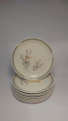 """Set of EIGHT Noritake 9172 Pennfield 7 3/4"""" Salad Plates in Very Good Condition"""