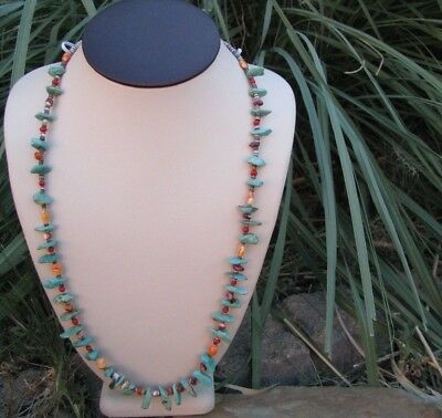 Navajo Greenish Turquoise Briolette Nuggets, Spiny Oyster, Coral Necklace #157